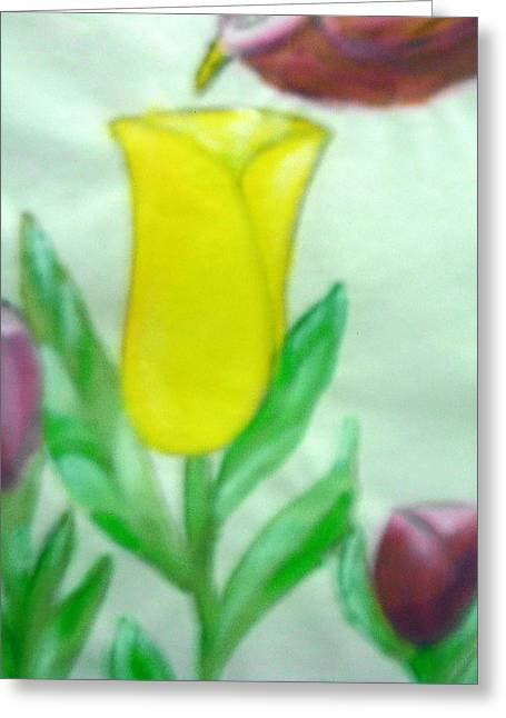 Tulip And Hummingbird Greeting Card by BJ Abrams