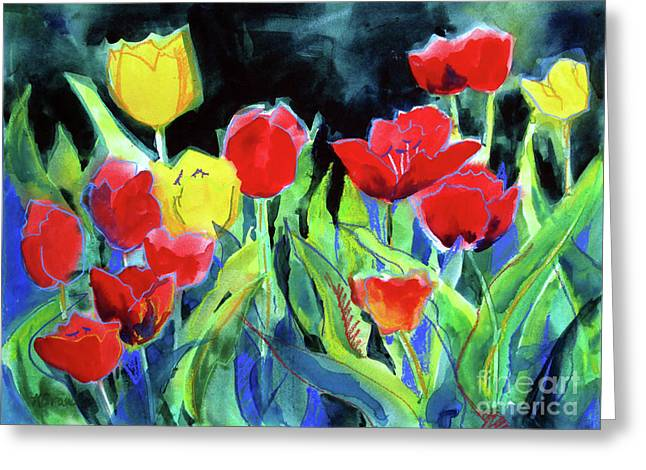 Greeting Card featuring the painting Tulip Bed At Dark by Kathy Braud