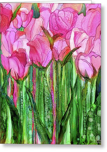 Tulip Bloomies 1 - Pink Greeting Card by Carol Cavalaris