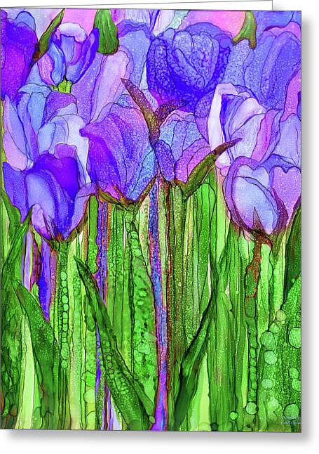 Tulip Bloomies 1 - Purple Greeting Card by Carol Cavalaris