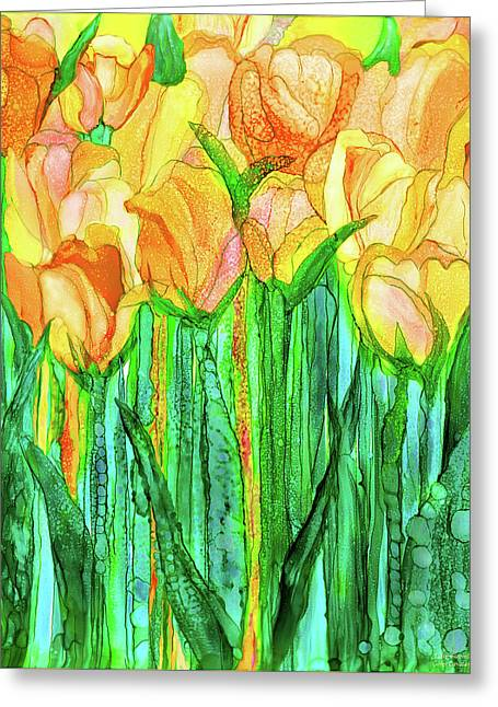 Tulip Bloomies 1 - Yellow Greeting Card by Carol Cavalaris