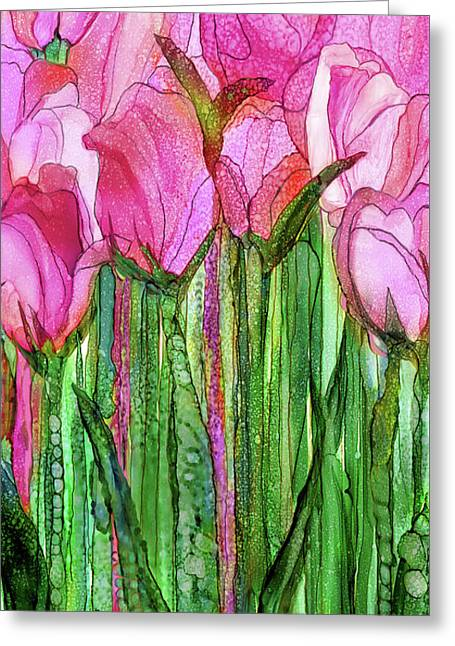 Tulip Bloomies 2 - Pink Greeting Card by Carol Cavalaris