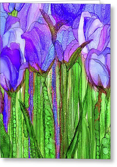 Tulip Bloomies 2 - Purple Greeting Card by Carol Cavalaris