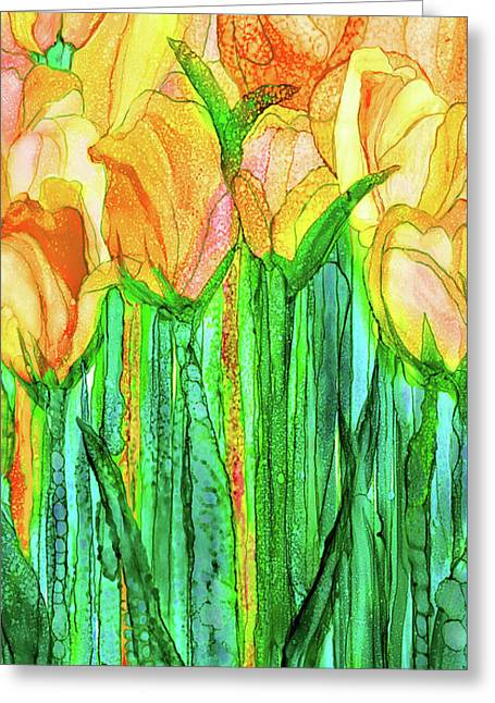 Tulip Bloomies 2 - Yellow Greeting Card by Carol Cavalaris