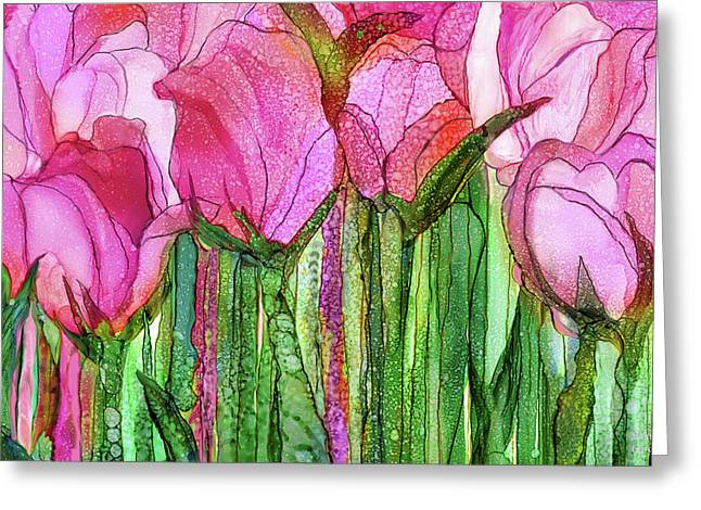 Tulip Bloomies 3 - Pink Greeting Card by Carol Cavalaris