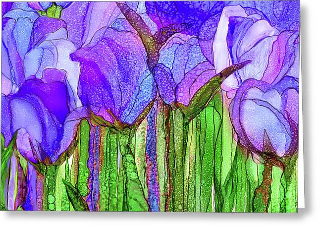 Greeting Card featuring the mixed media Tulip Bloomies 3 - Purple by Carol Cavalaris