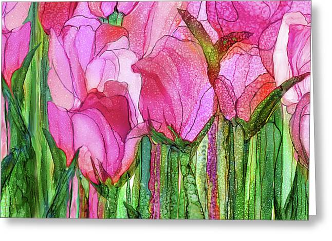 Tulip Bloomies 4 - Pink Greeting Card by Carol Cavalaris