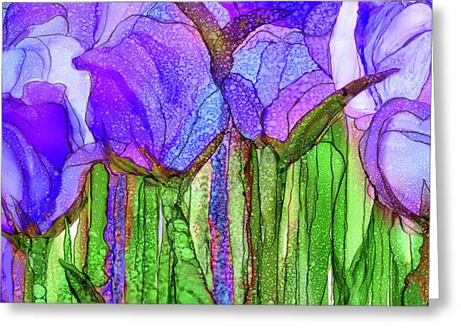 Tulip Bloomies 4 - Purple Greeting Card by Carol Cavalaris