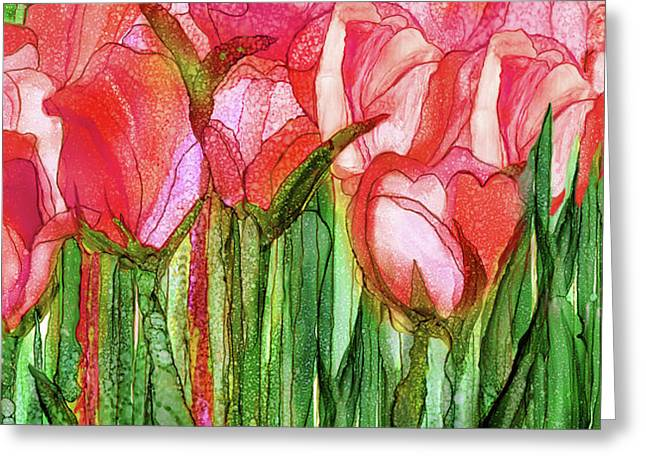 Tulip Bloomies 4 - Red Greeting Card by Carol Cavalaris