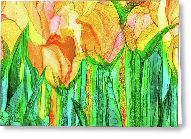 Tulip Bloomies 4 - Yellow Greeting Card by Carol Cavalaris