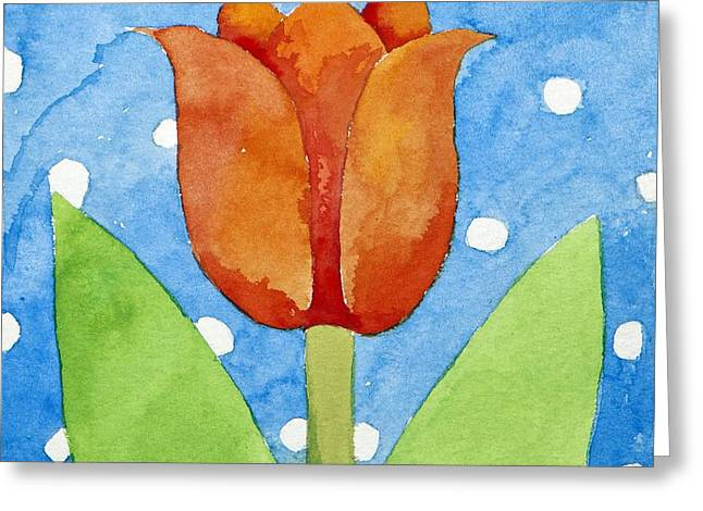Tulip Blue White Spot Background Greeting Card by Jennifer Abbot