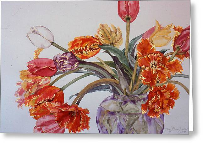 Tulip Bouquet - 12 Greeting Card by Caron Sloan Zuger