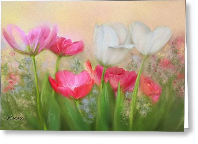 Greeting Card featuring the painting Tulip Garden by Bonnie Willis