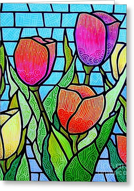 Tulip Garden Greeting Card by Jim Harris