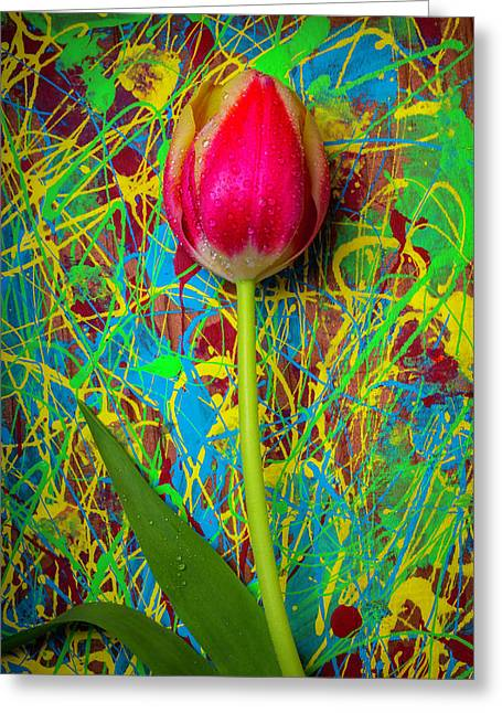 Tulip In Painted Box Greeting Card