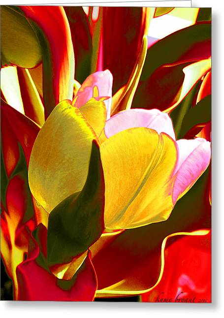 Tulip Kisses Abstract 4 Greeting Card