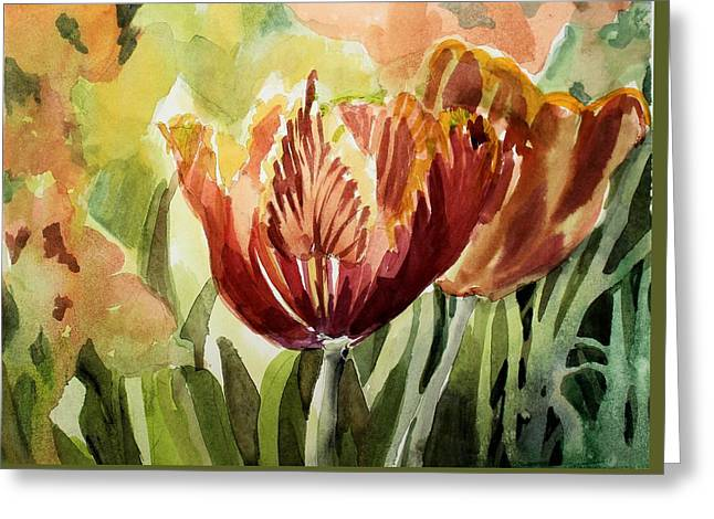 Tulip Light Greeting Card by Mindy Newman