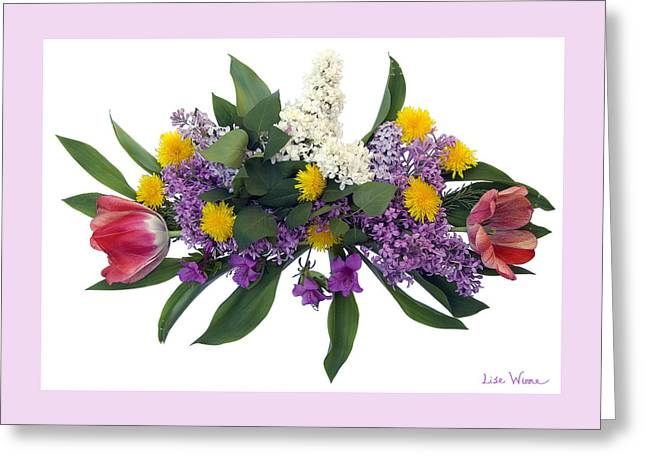 Tulip Lilac And Dandelion Bouquet Greeting Card by Lise Winne