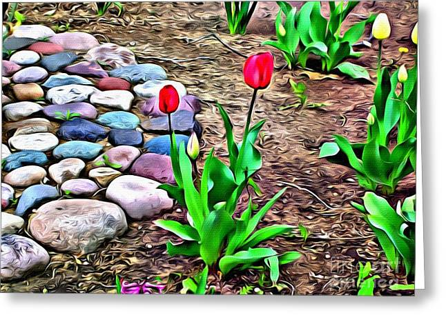 Greeting Card featuring the photograph Tulip Rock Garden by Beauty For God