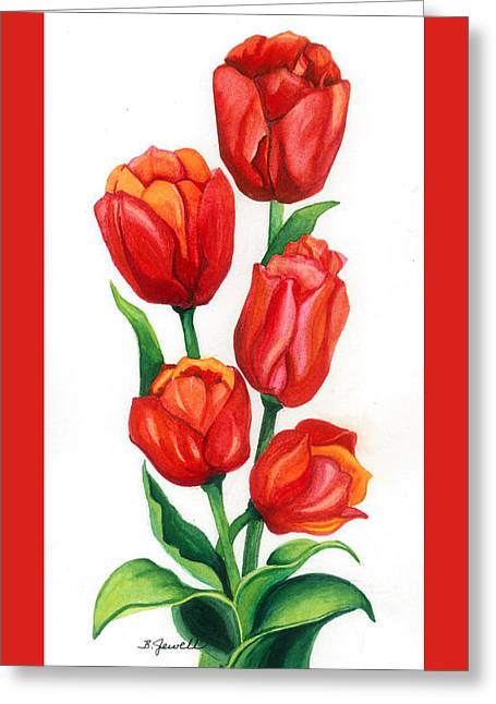 Greeting Card featuring the painting Tulip Time by Barbara Jewell