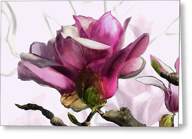 Greeting Card featuring the digital art Tulip Trees by Gina Harrison