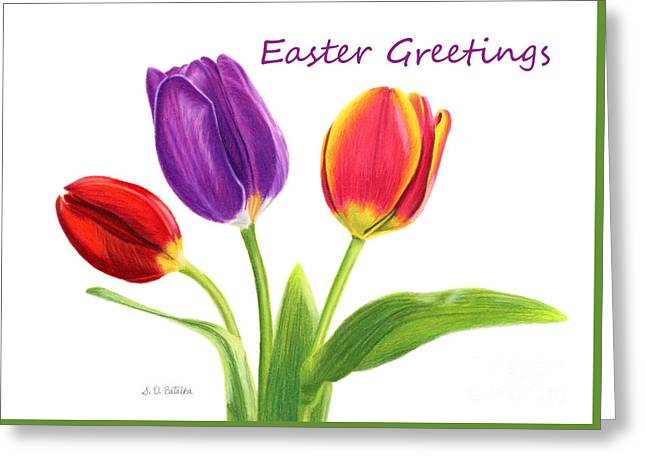 Tulip Trio- Easter Greetings Cards Greeting Card by Sarah Batalka