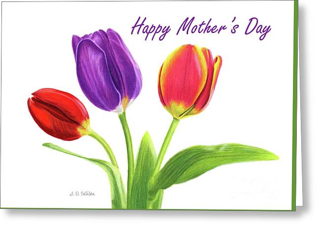Tulip Trio- Happy Mother's Day Cards Greeting Card by Sarah Batalka