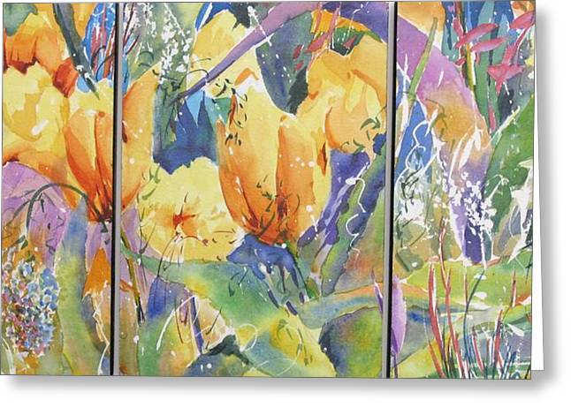 Tulip Triptych Greeting Card