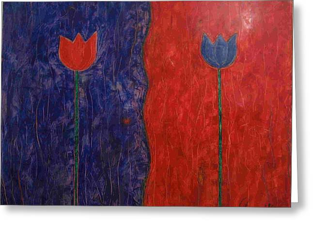 Greeting Card featuring the painting Tulip by Walter Casaravilla