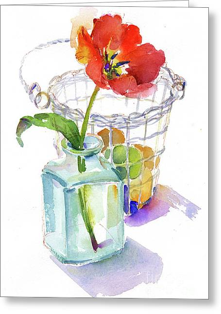 Tulip With Egg Basket Greeting Card