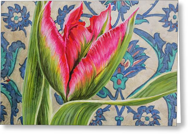 Tulipomania 10 Red Tulip And Iznik Tiles Greeting Card