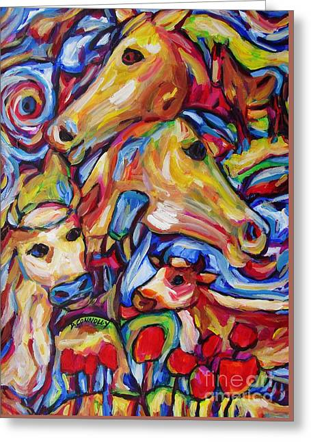 Tulippy Cows And Horses Greeting Card by Dianne  Connolly