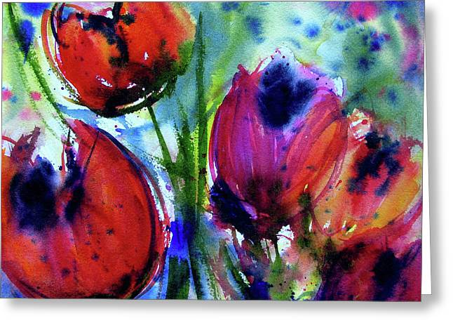 Greeting Card featuring the painting Tulips 1 by Marti Green