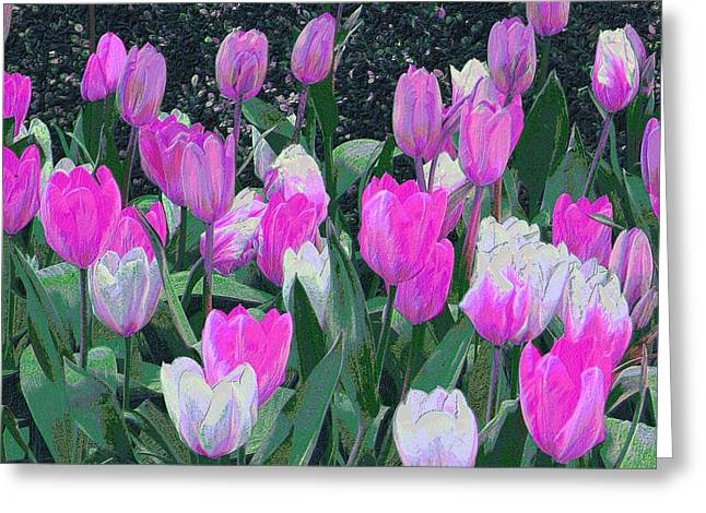 Greeting Card featuring the digital art Tulips 327dp by Brian Gryphon