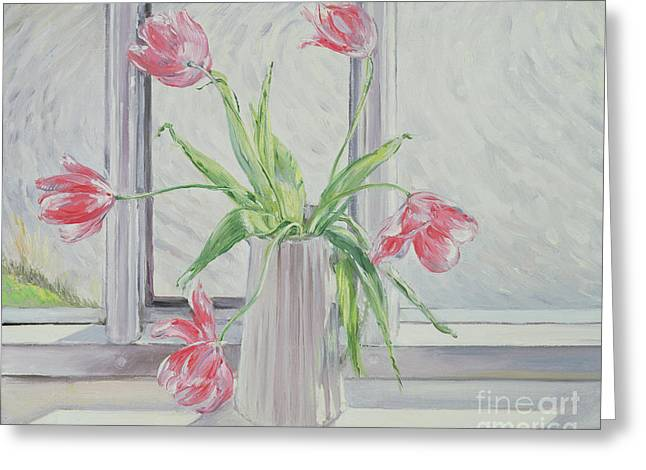 Tulips Against Moving Water Greeting Card by Timothy Easton