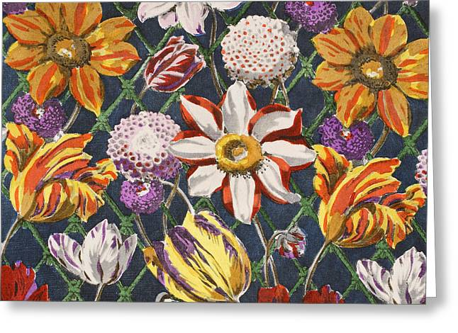 Tulips And Dahlias Greeting Card by Harry Wearne