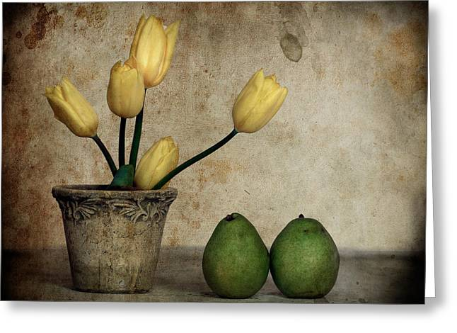Tulips And Green Pears Greeting Card by Levin Rodriguez