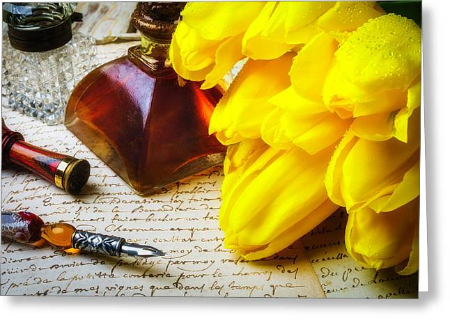Tulips And Ink Well Greeting Card