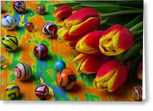 Tulips And Marbles Greeting Card by Garry Gay