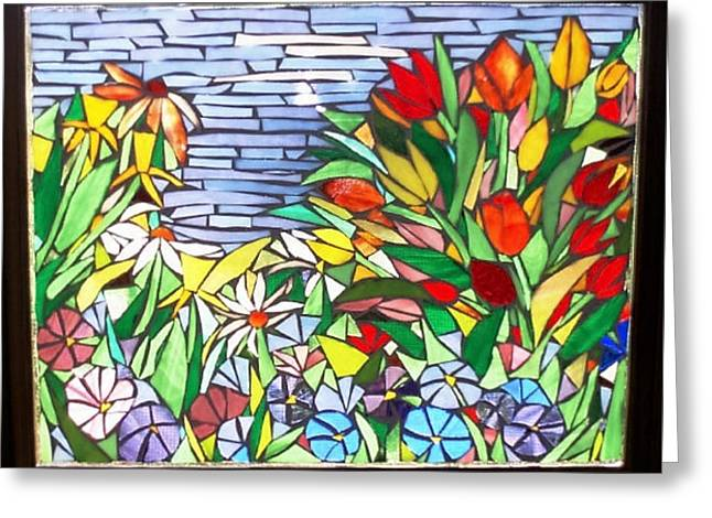 Tulips And Petunias Greeting Card