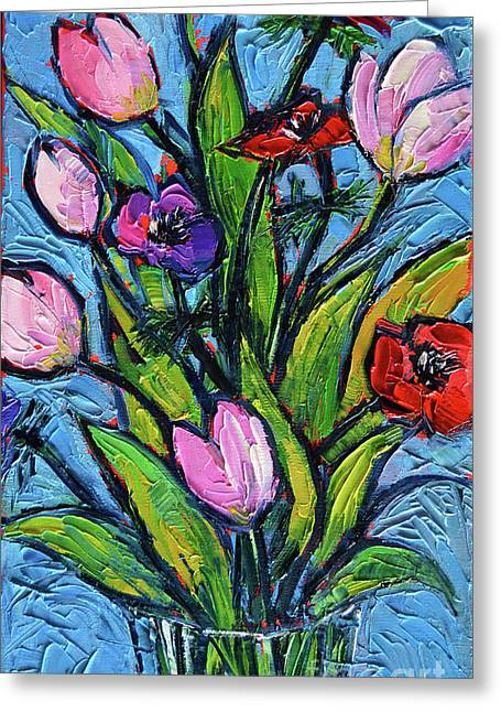 Tulips And Poppies - Impasto Palette Knife Oil Painting Greeting Card by Mona Edulesco