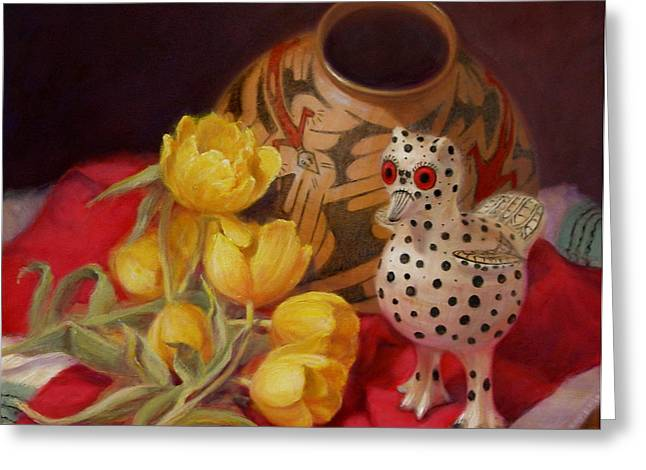 Greeting Card featuring the painting Tulips And Pottery by Donelli  DiMaria