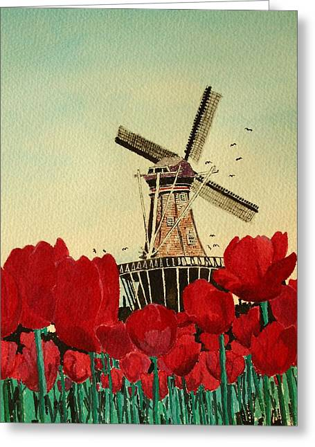 Tulips And Windmill Greeting Card