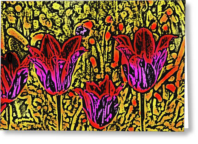 Psychedelic Van Greeting Cards - Tulips are Tulips Greeting Card by Susanne Van Hulst