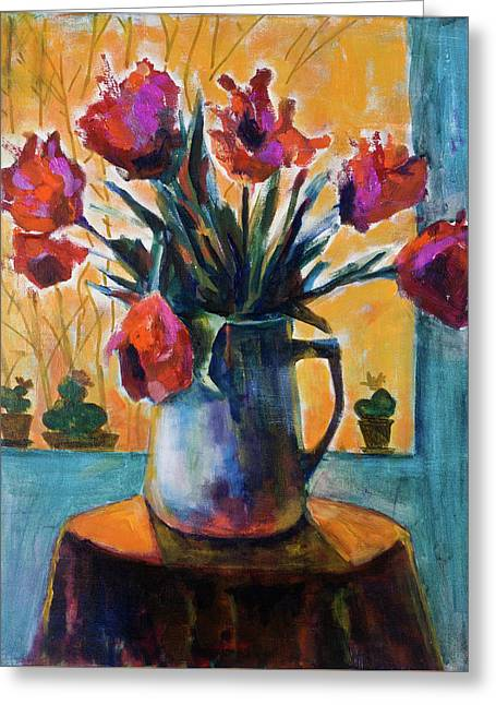 Tulips At Sunset Greeting Card