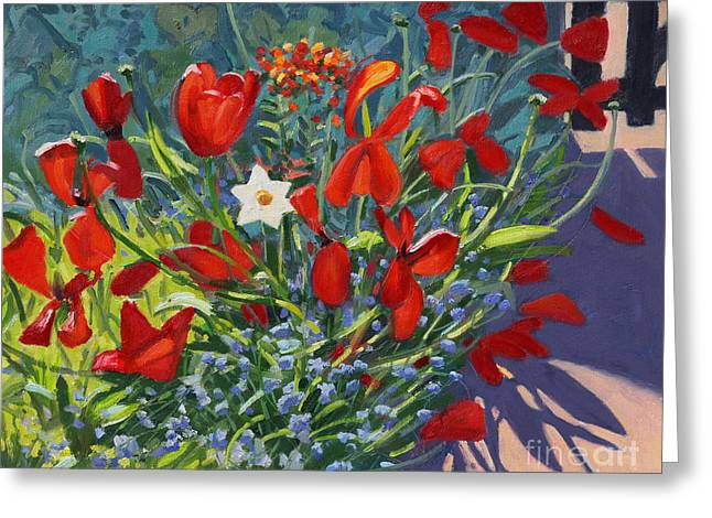 Tulips By The Gate Greeting Card by Andrew Macara