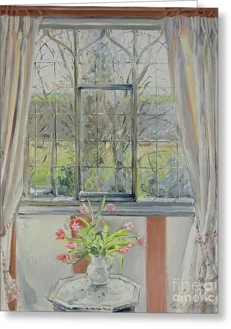 Tulips For A January Morning Greeting Card by Timothy Easton
