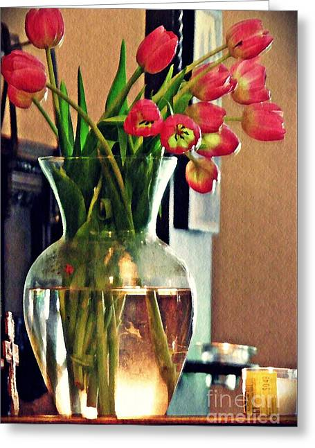 Tulips In A Vase Greeting Card by Sarah Loft