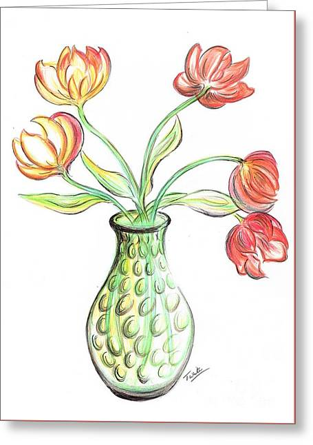 Tulips In A Vase Greeting Card