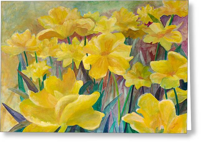 Tulips In Abstract Time Greeting Card by Rita Bentley